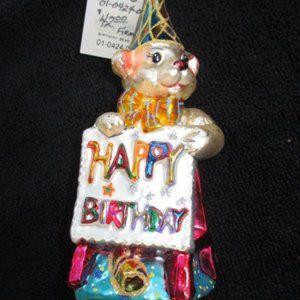 Christopher Radko Christmas Ornament Birthday Bear